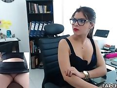 Brunette, Glasses, Jerking, Masturbation, Moaning, Office, Webcam,