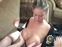 Big Tits, Cop, Couple, Cowgirl, Fake Tits, Handjob, Hardcore, Long Hair, Missionary, Naughty,