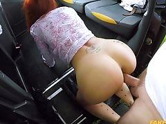 Backseat, Big Tits, Blowjob, Redhead, Taxi,
