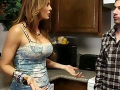 Big Tits, Boy, Brunette, Ethnic, Hardcore, Kitchen, Latina, Licking, MILF, Mom,