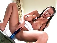 Babe, Big Tits, Braids, Curvy, Dildo, Fingering, Jerking, Masturbation, Miniskirt, Model,