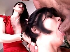 Big Tits, Blowjob, Brunette, Cute, Eva Karera, MILF, Oral Sex, Shay Fox, Short Haired, Threesome,
