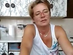Blonde, Glasses, Granny, Short Haired, Softcore, Solo, Webcam,