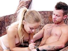 Ass, Blonde, Blowjob, Boobless, Couch, Doggystyle, Handjob, HD, Nerd, Petite,