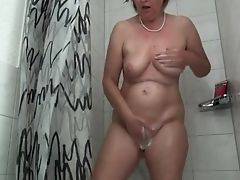 Amateur, Frida, German, Granny, Mature, Shower,