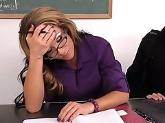 American, Brunette, Clothed Sex, Desk, Hardcore, MILF, Nikki Sexx, Office, Story, Teacher,