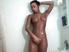 Brunette, Cute, Jerking, Masturbation, Model, Natural Tits, Shower, Solo,