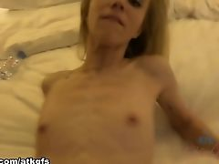 Blonde, Boobless, College, Cumshot, Footjob, Holiday, POV, Skinny,