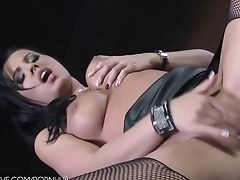 Black, Dress, Fingering, Leather, Long Hair, Miniskirt, Model, Pussy, Sexy, Solo,