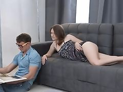 Amateur, Babe, Blowjob, Couch, Couple, Cowgirl, Cum In Mouth, Cumshot, HD, Moaning,