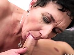 Big Tits, Blowjob, Brunette, Cum In Mouth, Cumshot, Granny, Natural Tits, Old And Young,