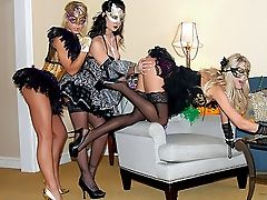 Blonde, Brunette, Clothed Sex, Dress, Group Sex, Lesbian, Licking, Lingerie, Mask, Melissa Jacobs,