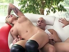Anal Sex, Ass, Babe, Big Tits, Blonde, Blowjob, Dick, Double Penetration, Facial, Threesome,