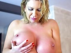 Bathroom, Big Ass, Big Tits, Blonde, Blowjob, Fake Tits, Handjob, HD, Huge Cock, Mature,
