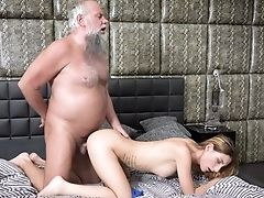69, Bedroom, Blonde, Blowjob, Cumshot, Doggystyle, Grandpa, HD, Kissing, Missionary,