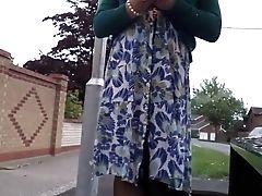 Dress, Lingerie, Nylon, Outdoor, Stockings, Voyeur,