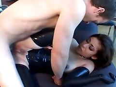Anal Sex, Brunette, Corset, Fetish, Fucking, Gloves, Latex, Lingerie, Riding, Stockings,