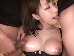 Babe, Big Tits, Bra, Couple, Cum, Cum Swallowing, Japanese, Missionary, Natural Tits, Oiled,