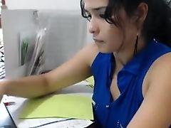 Babe, Latina, Masturbation, Model, Office, Pussy, Sexy, Solo, Webcam,