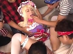 Blonde, Clothed Sex, Friend, Fucking, Gangbang, Hardcore, Japanese, Long Hair, Yui Hatano,