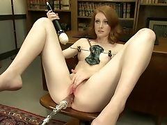 American, From Behind, Ginger, Legs, Masturbation, Pussy, Redhead, Sex Toys, Solo, Spreading,